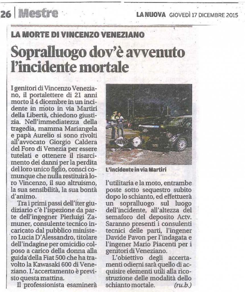 Articolo tratto da La Nuova Venezia 17 dicembre 2015