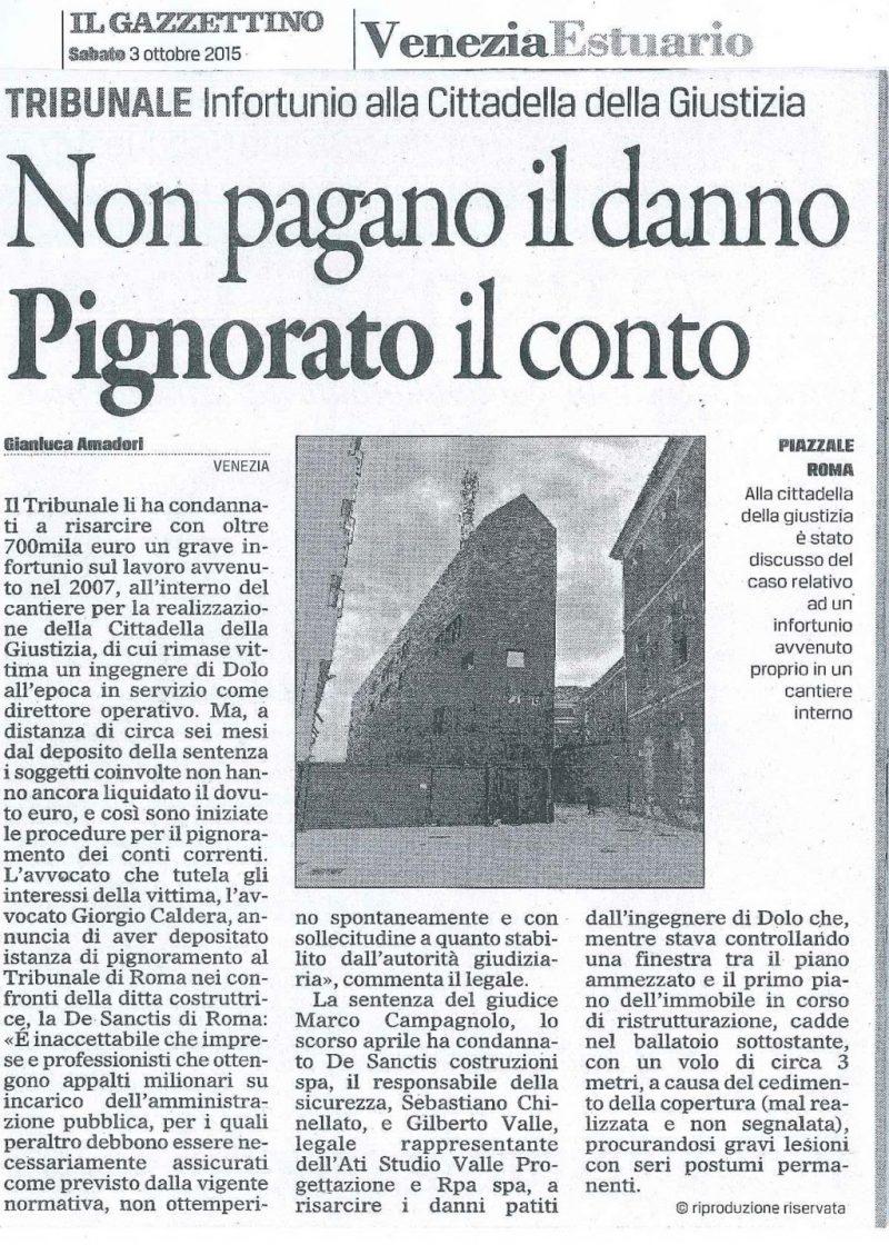 Articolo de Il Gazzettino 3 ottobre 2015