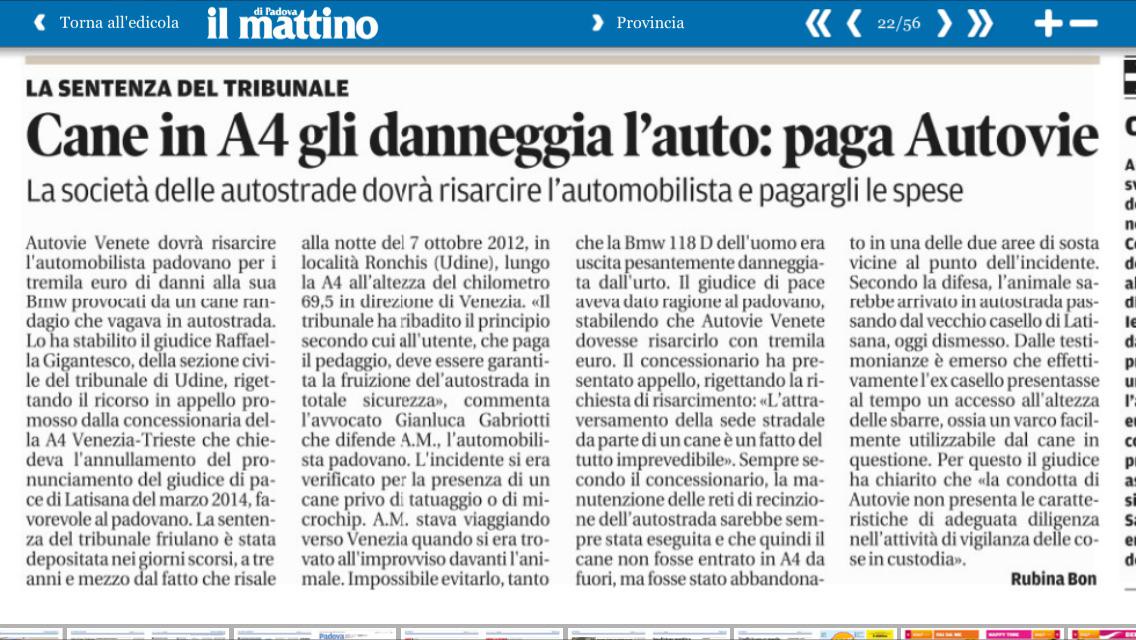 articolo de Il Mattino Di Padova 10 febbraio 2016