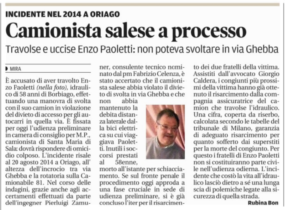 Camionista Salese a Processo