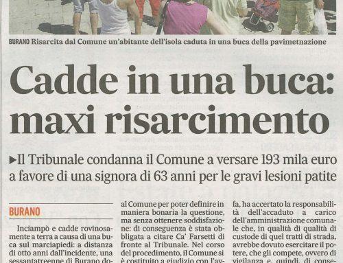 Cadde In Una Buca: Maxi Risarcimento