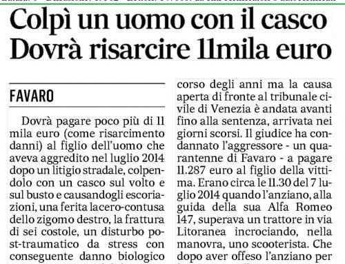 Colpì Un Uomo Con il Casco Dovrà Risarcire 11mila Euro