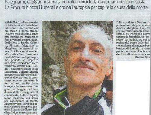 Ciclista Contro Un Furgone. Muore Dopo 4 Mesi Di Coma