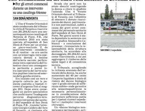 ULSS Condannata Ad Un Maxi-Risarcimento Di 260mila Euro