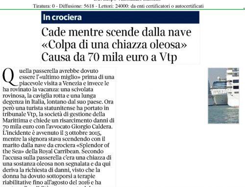 """Cade Mentre Scende Dalla Nave """"Colpa Di Una Chiazza Oleosa"""" Causa Da 70 Mila Euro A Vtp"""