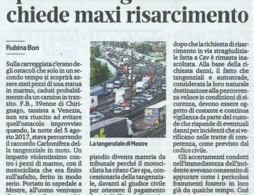 Colpisce Pezzi Di Statua Sparsi In Tangenziale Chiede Maxi Risarcimento