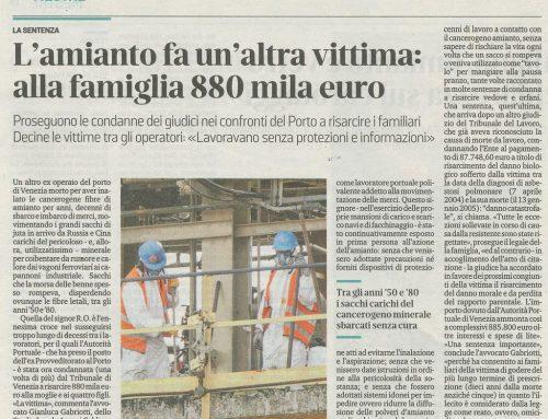 L'amianto Fa Un'altra Vittima: Alla Famiglia 880Mila Euro