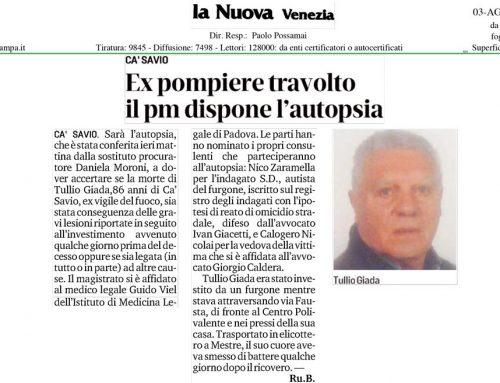 Ex Pompiere Travolto Il Pm Dispone l'Autopsia