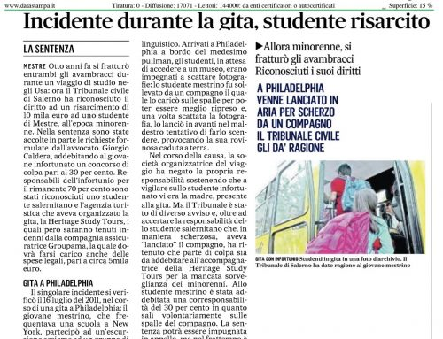 Incidente Durante La Gita, Studente Risarcito