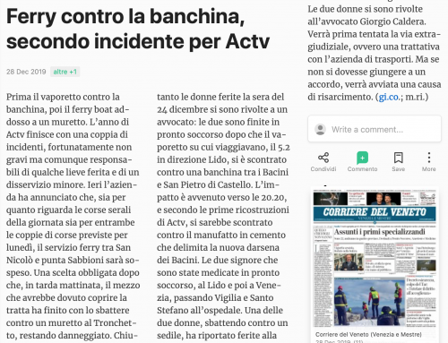 Ferry Contro La Banchina, Secondo Incidente Per ACTV