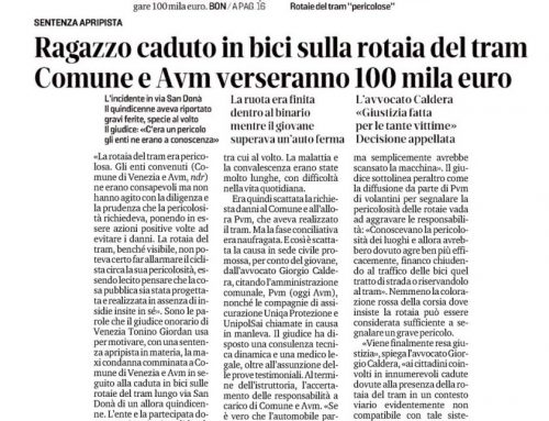 Ragazzo Caduto In Bici Sulla Rotaia Del Tram Comune E AVM Verseranno 100mila Euro