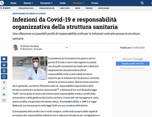 Infezioni da Covid-19 e responsabilità organizzativa della struttura sanitaria